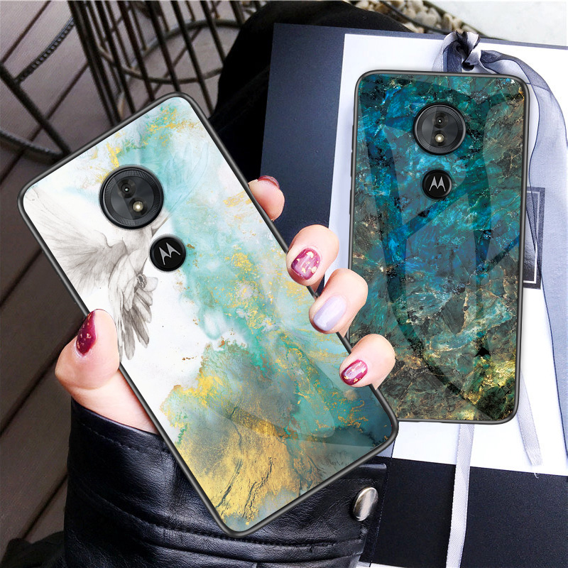 Luxury Marble Tempered Glass Phone Case For MOTO G6 G5S Plus Hard Case For Motorola G6 Play G5S Plus Cover Coque Silicone Capa-in Fitted Cases from Cellphones & Telecommunications