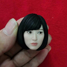 1/6 Scale beauty girl  Head Sculpt With dark black pvc hair Asian Star Carving 12 Figure short white skin