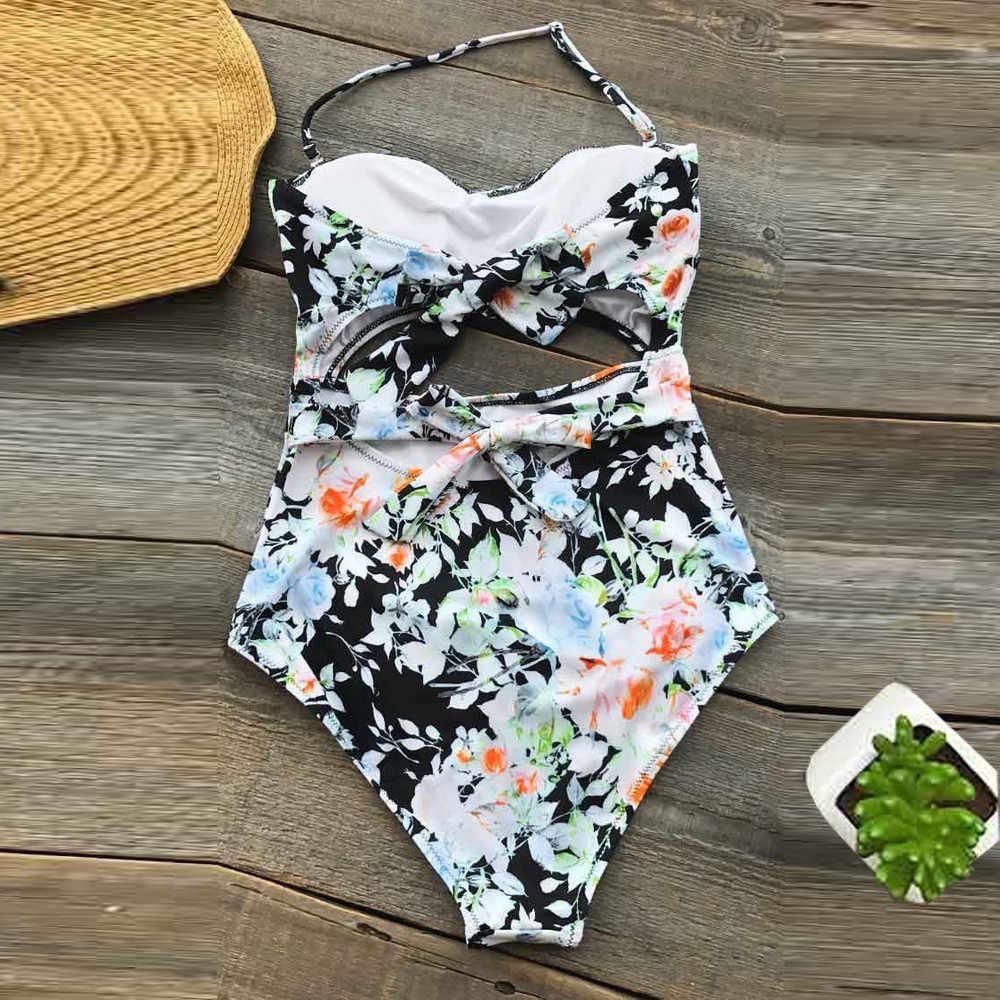 Ladies Sexy One Piece Printed Beach Bikini Low Waist Swimsuit Plus Size BikiniSexy Swimwear WomenSwimwear Women Biquini #C