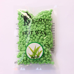 Depilatory Hot Film Hard Wax Bean For Waxing No Strip Needed For Body Bikini Face Hair Removal 100g Tea Tree Flavor