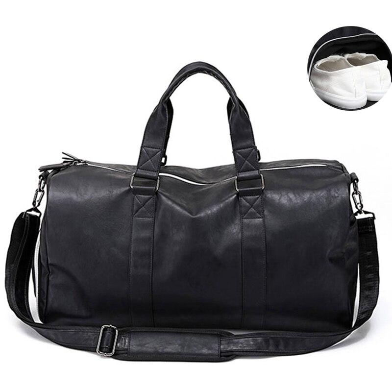 Мужская кожаная дорожная сумка, большая дорожная сумка, независимая обувь для хранения, большие сумки для фитнеса, сумка, сумка для багажа, сумка на плечо, черная, XA237WC - Цвет: Black L