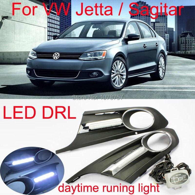 Car LED DRL Daytime Running font b Light b font Suitable For Volkswagen Jetta Sagitar 2011