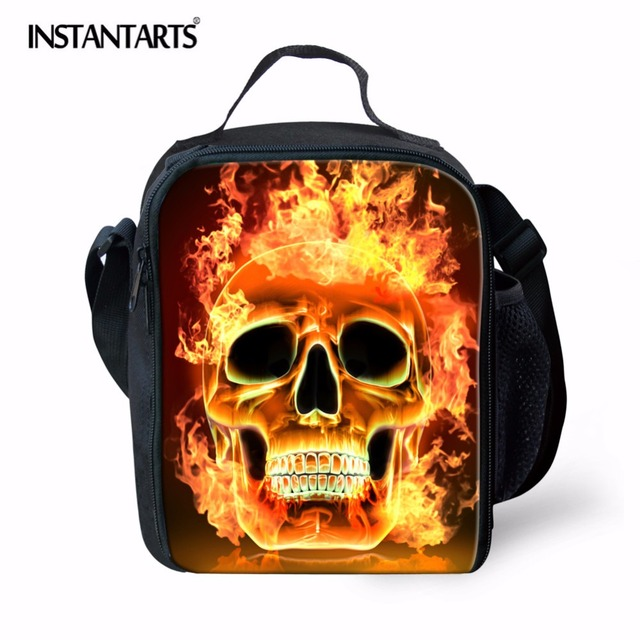 INSTANTARTS Thermal Insulation Cooler Lunch Picnic Bag Skull Print Food Fruit Container Food Box Outdoor Camping Food Handbag