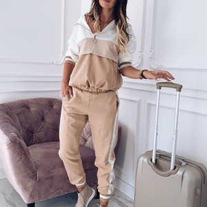 Image 5 - 2020 Tracksuit Women Two Piece Set Outfits for Women Slim Color Stitching Jacket Casual Jacket and Jogging Casual Pants Suit