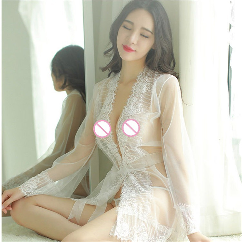 Women Lingerie Sexy Hot Erotic Babydoll Sex Costumes 4Pcs/set Lace See Through Bathrobe+Sexy Open Bra+Sexy Crotchless Panties