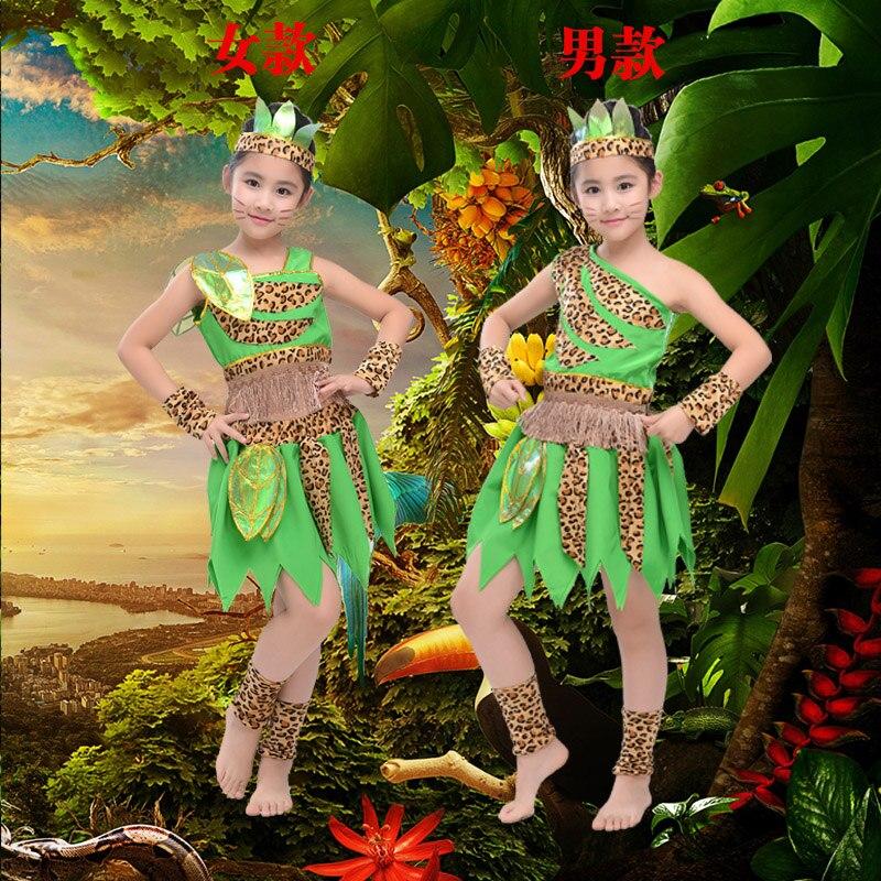 Kinder Halloween Afrikanische Trommel Tanz Kostüme Kinder Spielen Indische Savage Hunter Primitive Mann Leistung Kostüm Gute QualitäT