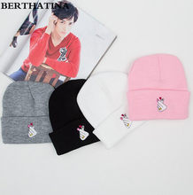 BERTHATINA Warm Autumn Winter Hats Finger Printed Knitting Hat Skating Caps Turtleneck Beanies Hat Snowboard Outside Cap(China)
