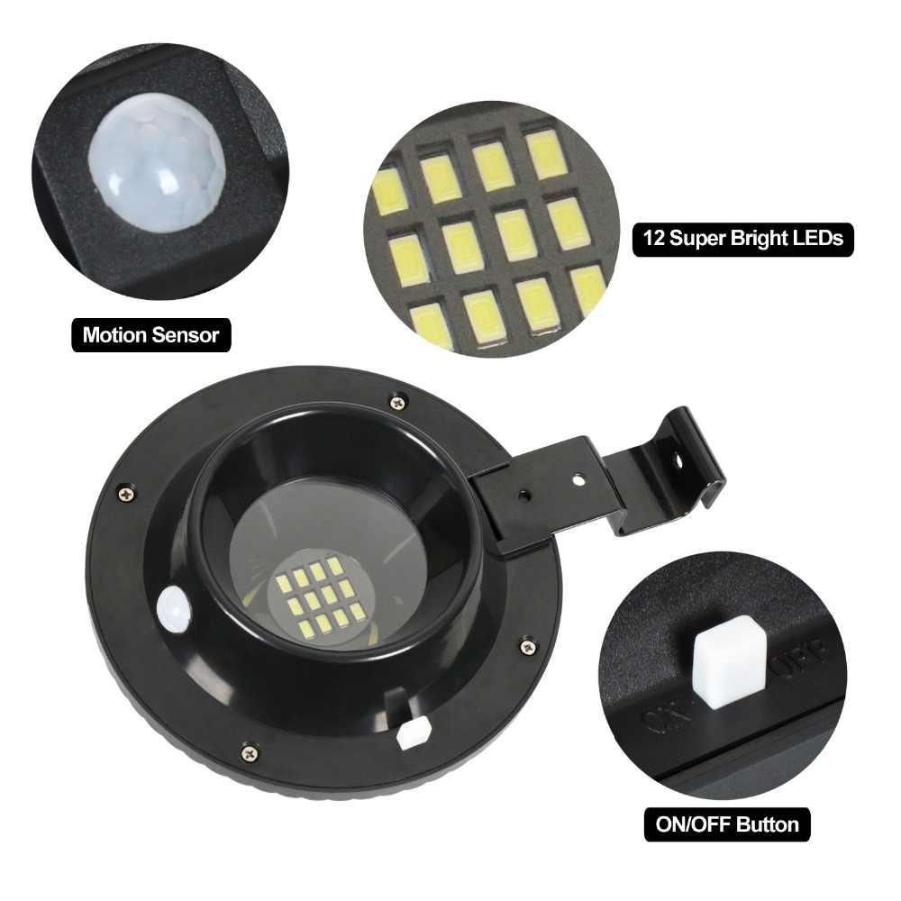 2 PACK Солнечный свет лампы накаливания солнечные ПИР движения Сенсор Водонепроницаемый Беспроводной свет безопасности с 12 светодиодный для наружной сад