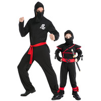 Father Child Japanese Ninja Masked Warrior Impersonate Suit Stage Outfit Disfraces Halloween Cosplay Kid Exotic Clothes