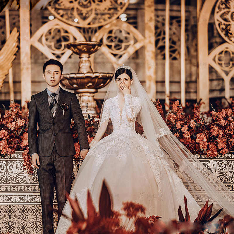 ארוך שרוול תחרה חתונה שמלה עם זנב ארוך 2019 כלה בתוספת גודל הכלה שמלה weddingdress vestido דה noiva boho