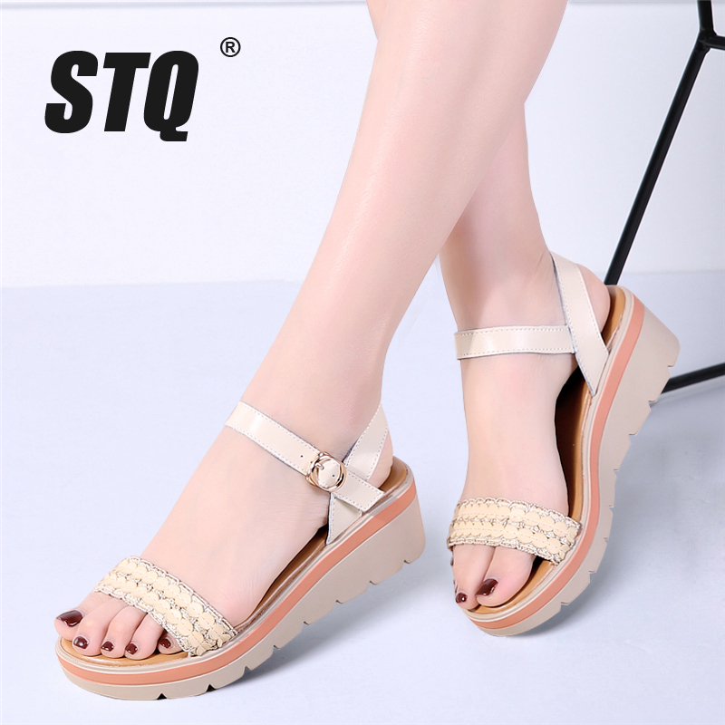 STQ Platform Sandals Shoes Heel Ankle-Strap Thick Ladies 8116