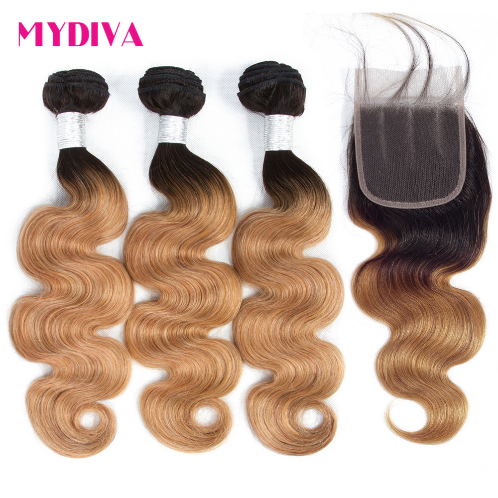 Mydiva Body Wave Human Hair Bundles With Closure Brazilian Hair Weave Bundles Non Remy 1B27 Ombre
