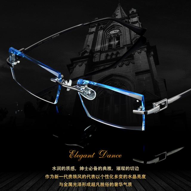 Homens moda óculos frame ótico titanium sem aro óculos de armação de diamante decorações com prescrição de vidro novos oculos 621