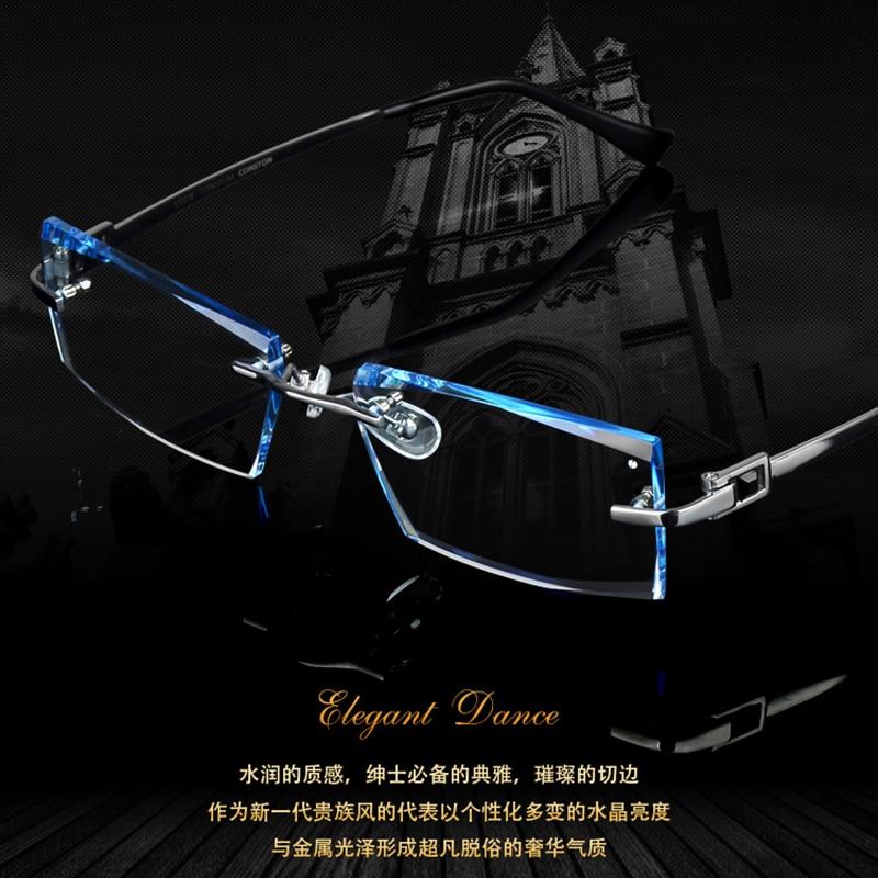 Men Fashion Glasses Titanium Rimless Eyeglasses Frame Diamond Decorations Optical Frame with Prescription Glass NEW oculos