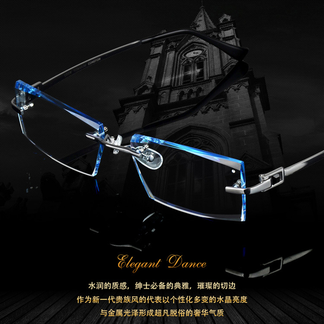 aaa01305c7 Men Fashion Glasses Titanium Rimless Eyeglasses Frame Diamond Decorations Optical  Frame with Prescription Glass NEW oculos