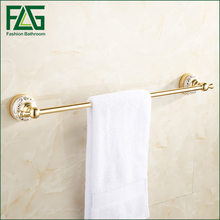 цена FLG  European Single Towel Bar Towel Rack Holder Golden Space Aluminum Towel Rail Towel Hanger Bathroom Accessories онлайн в 2017 году