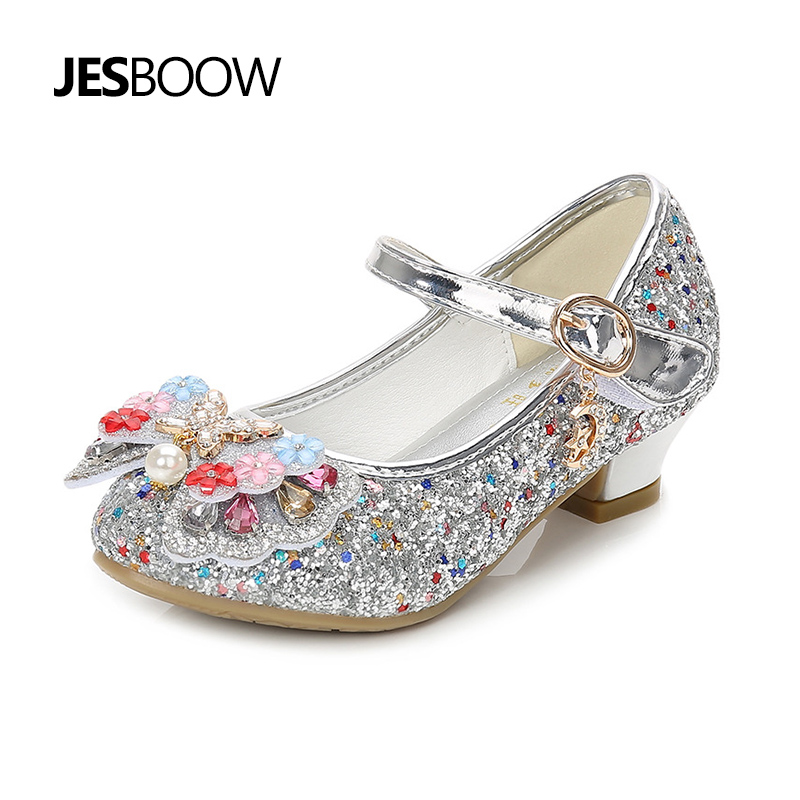 Childrens shoes sequin color rhinestone flower Pearl Princess shoes butterfly high heels dancing shoes girl party crystal shoes