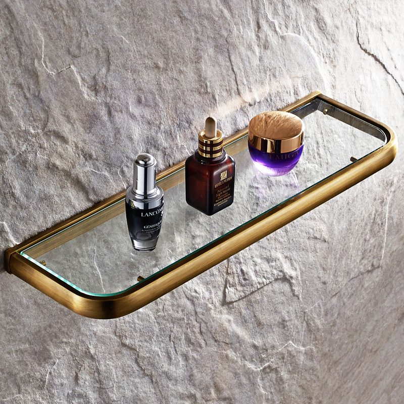 Europe Antique Single Layer Bathroom Glass Shelf Brushed Brass Wall Mounted Cosmetic Storage Rack Bathroom Accessories Sets copper bathroom shelf basket soap dish copper storage holder silver