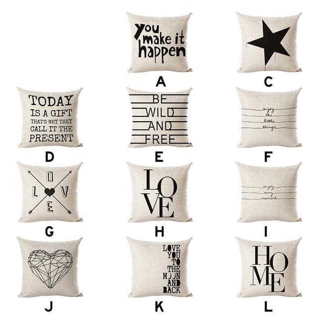 Coperture per Cuscini Bianco lettera cuore federe di lino cuscino copertura Deco