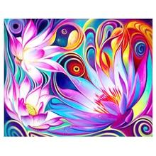 DIY Diamond Painting Flower fantasy Embroidery purple flower Cross Stitch fulll round Home Decor