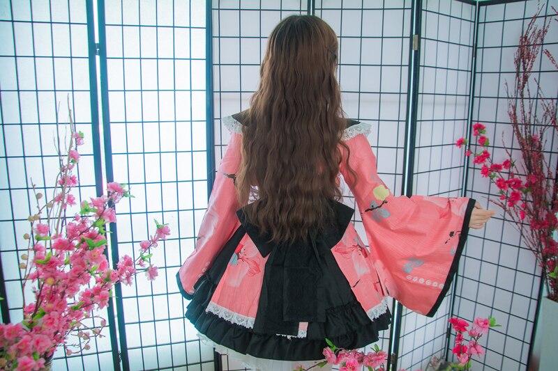 Shanghai histoire coton fleur impression dentelle bord Kimono Yukata robe de chambre Anime Lolita ensembles Meidofuku uniforme tenue - 4
