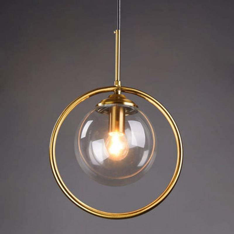 LukLoy Loft Modern Pendant Light Bedside Hanging Lamp Kitchen Island Suspension Bedroom Magic Bean Gold Glass