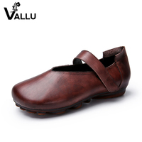 Vintage Soft Flat Shoes Lady Real Leather Women Moccasin Shoes Strap Handmade Vintage Summer Female Shoes