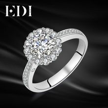 EDI Genuine 1CT Round Cut Moissanites Diamond Ring 14k 585 White Gold Wedding Bands Jewelry For Women