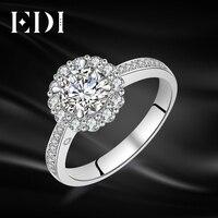 EDI Genuine 1CT Round Cut Moissanites Diamond Ring 14k 585 White Gold Wedding Bands Jewelry For Women