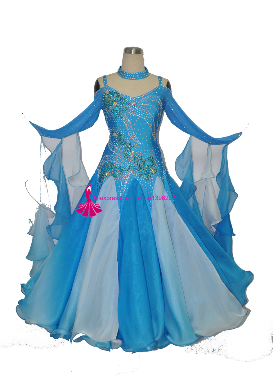 8f73d8550 Big Discount Standard Ballroom Dance Dress Women Shiny Stage Waltz Modern  Competition Dancing Skirt Flamenco Ballroom Dance Dresses