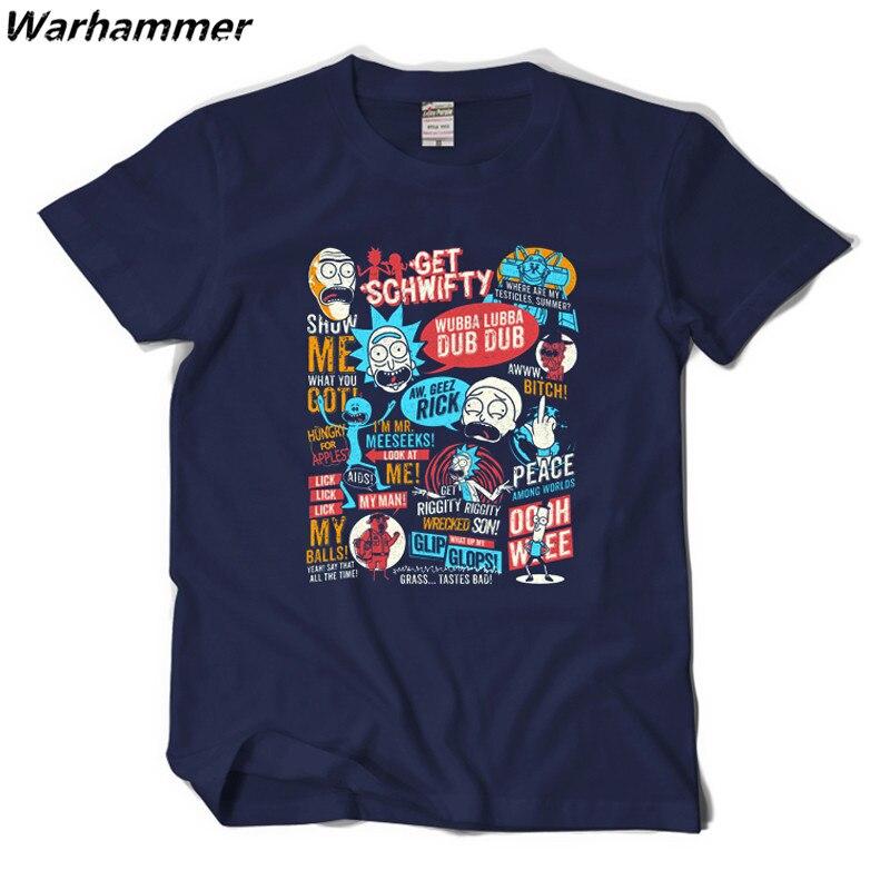 워해머 릭 및 Morty 티셔츠 2017 새로운 애니메이션 스타일 3D 목 짧은 소매 T 셔츠 옴므 릭 Morty 팬 T 셔츠