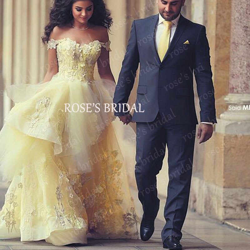 Yellow Wedding Gown Promotion-Shop for Promotional Yellow Wedding ...