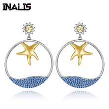 INALIS New Elegant Big Drop Earrings 925 Sterling Silver Micro Paved CZ Crystal Gold Plated Starfish with Blue Sea Dangle Brinco 10k white gold over sterling silver rhodium plated micro pave drop earrings