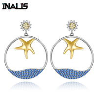 INALIS New Elegant Big Drop Earrings 925 Sterling Silver Micro Paved CZ Crystal Gold Plated Starfish with Blue Sea Dangle Brinco