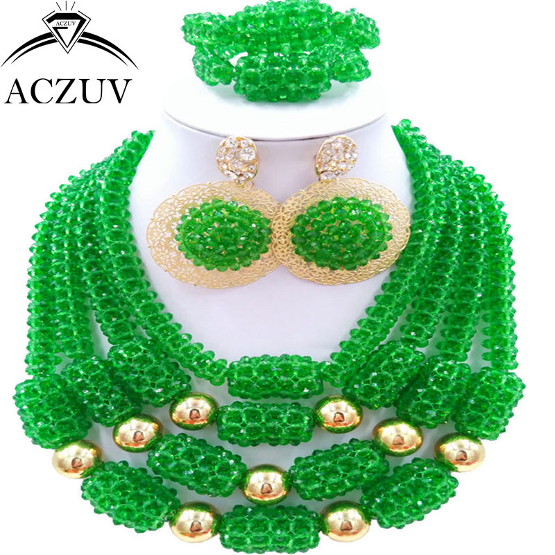 ACZUV Latest Green African Wedding Beads Necklace and Earrings Bracelet Nigerian Jewelry Set for Women D4R023 fashion white crystal beads necklace earrings bracelet nigerian wedding beads african jewelry set for women ddk014