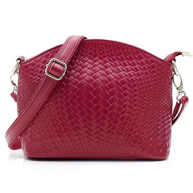 Genuine Leather Women Messenger Bag Woven Pattern Bag 100 Cowhide Crossbody Bags For Women s Shoulder