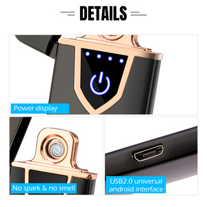 Image 5 - Touch Sensing Double sided USB Rechargeable Lighter Windproof Flameless Electronic Cigar Cigarette Electric Lighters Plasma
