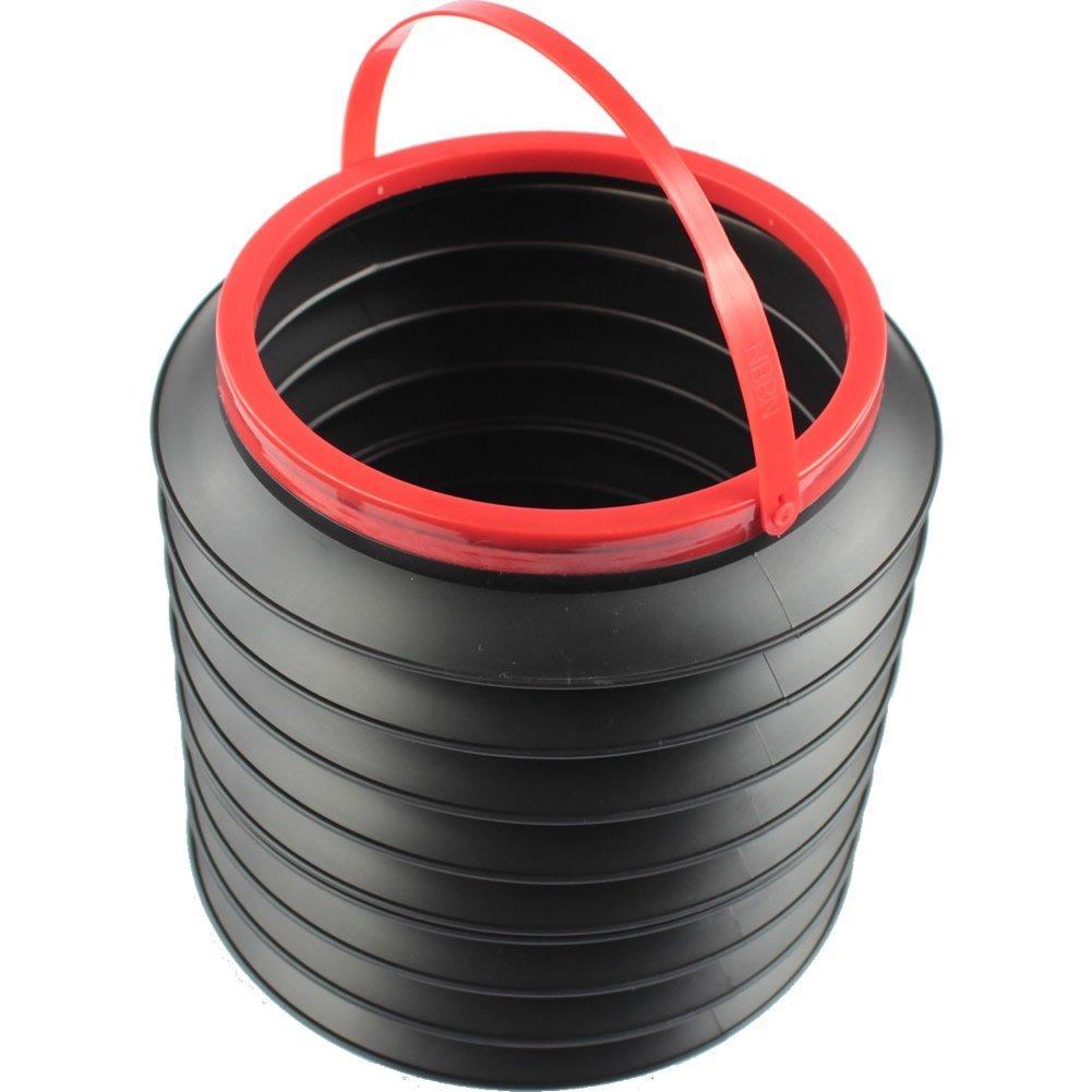 22cm x 18cm Black Multifunctional Magic Car Container Barrel Trash Bin Foldable Storage Bucket