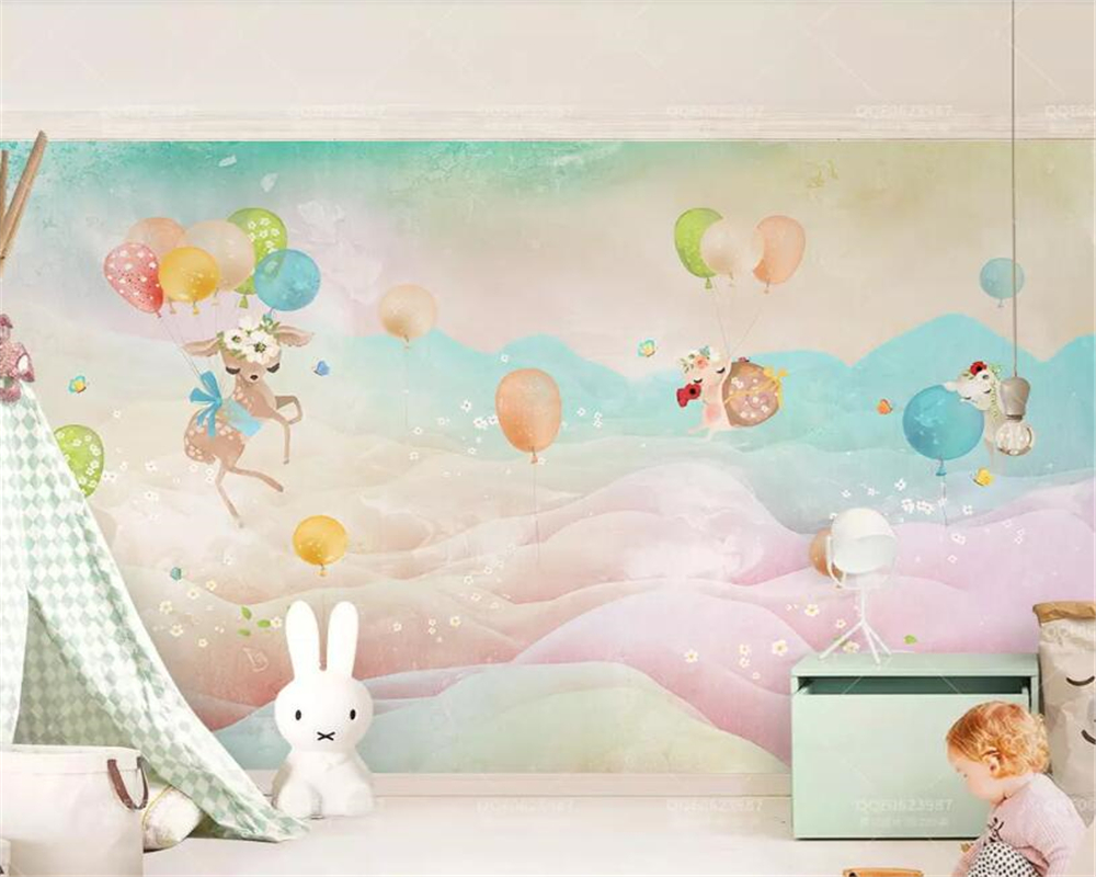 Beibehang Custom Cute Kid Room Mural Wallpaper Cartoon Balloon Fawn  Watercolor Hand Painted Childrenu0027s Room Decoration Wallpaper