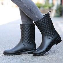 Резиновые сапоги однотонные Слипоны женские сапоги решетки повседневная женская обувь водонепроницаемые резиновые женские ботинки модные большой размеры 36–41