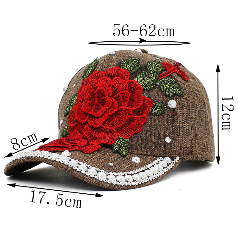 LOVINGSHA Rhinestones Baseball Cap Women Men Spring Floral Snapback ... a1132e764dd8