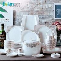 Garland Of European Household Bone China Tableware Set 56 Head Platinum Simple Ceramics Suit Western Dishes