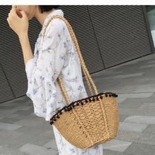 купить 2019 Retro Bali Casual Straw Bags for Women Handmade Round Beach bag Vintage Summer Rattan Knitted Handbags Women Messenger Bag по цене 1385.26 рублей