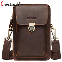 Contact's Genuine Leather Waist Bag Men Shoulder Bag Phone Fanny Pouch Handbag Belt Bag Men Messenger Bag Hip Small