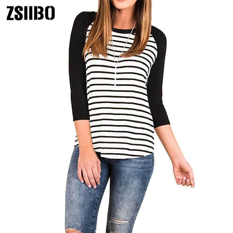 ZSIIBO סתיו נשים חולצה נשים של פסים קרוע T חולצה 3/4 שרוול בייסבול טוניקת חולצות זרוק חינם