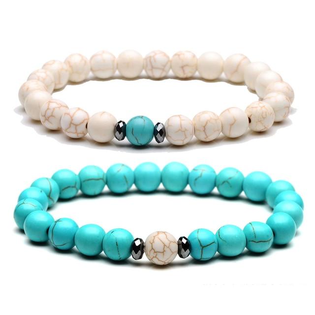 8mm Yoga Energy Cure Green White Semi Precious Stone Beads Bracelet Fine Jewelry