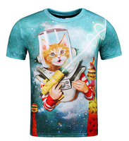 2016 New Style Unisex 3D T Shirt Funny Robot Cat With Laser Gun T Shirt Hamburger