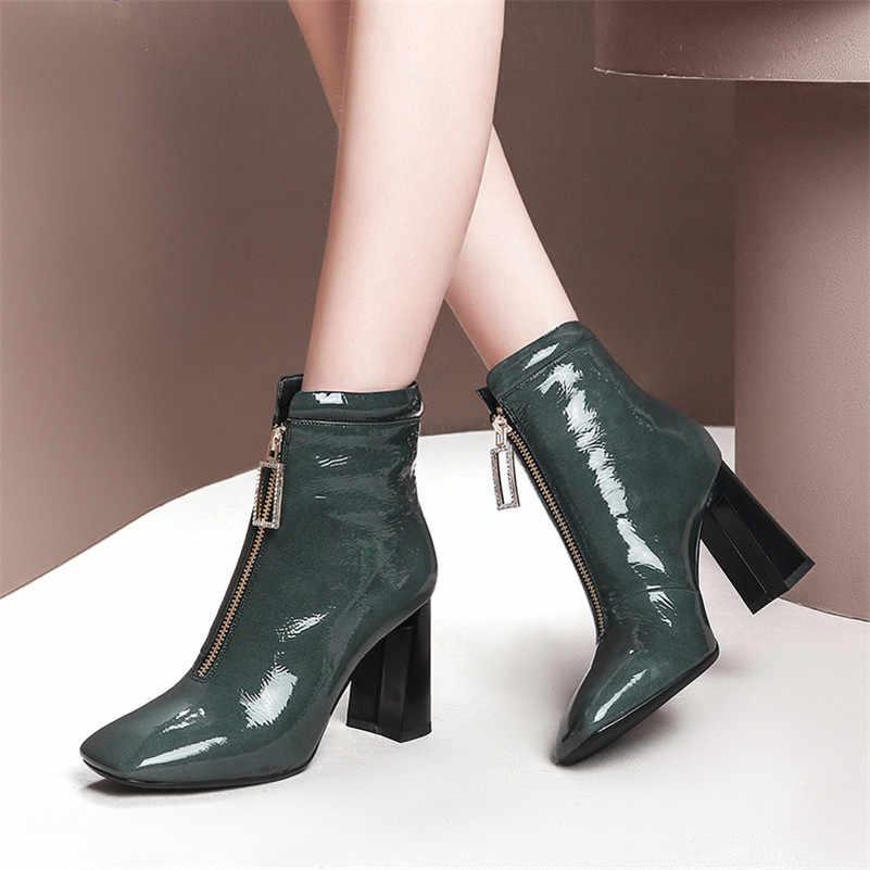 Женские полусапожки из воловьей кожи FEDONAS, зеленые ботильоны на молнии и высоких каблуках, короткие сапоги с квадратным каблуком для вечеринки на осень и зиму 2019