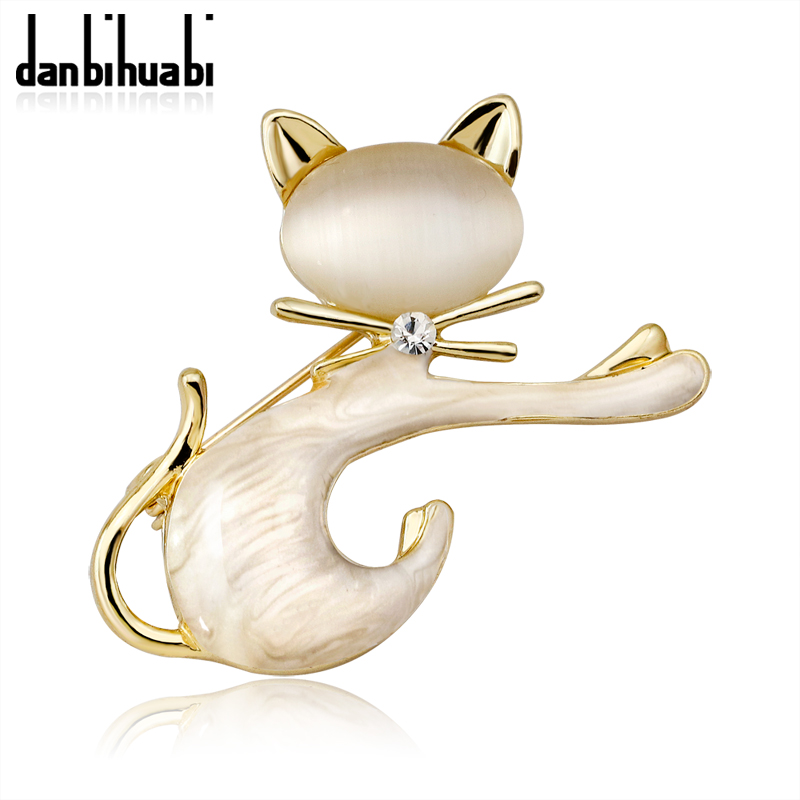Danbihuabi Tricolor Cute Tie Cat Brooches pin Rhinestone Artificial Opals Brooch Suit Dress Sweater Hat Brooch for Women Jewelry