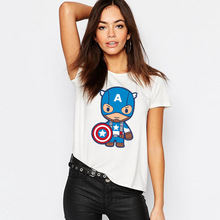 BTFCL  Women T Shirt Europe and US New Marvel American Captain Cartoon Spiderman Printing  Ladies Gothic T Shirt Plus Size american gothic